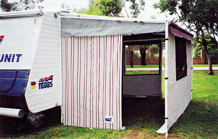 Convert Your Roll Out Awning To An Annexe With Custom Made Walls The Front And Rear Are Supported By AFK Rails THe AFKs Can Also Be Used As Anti